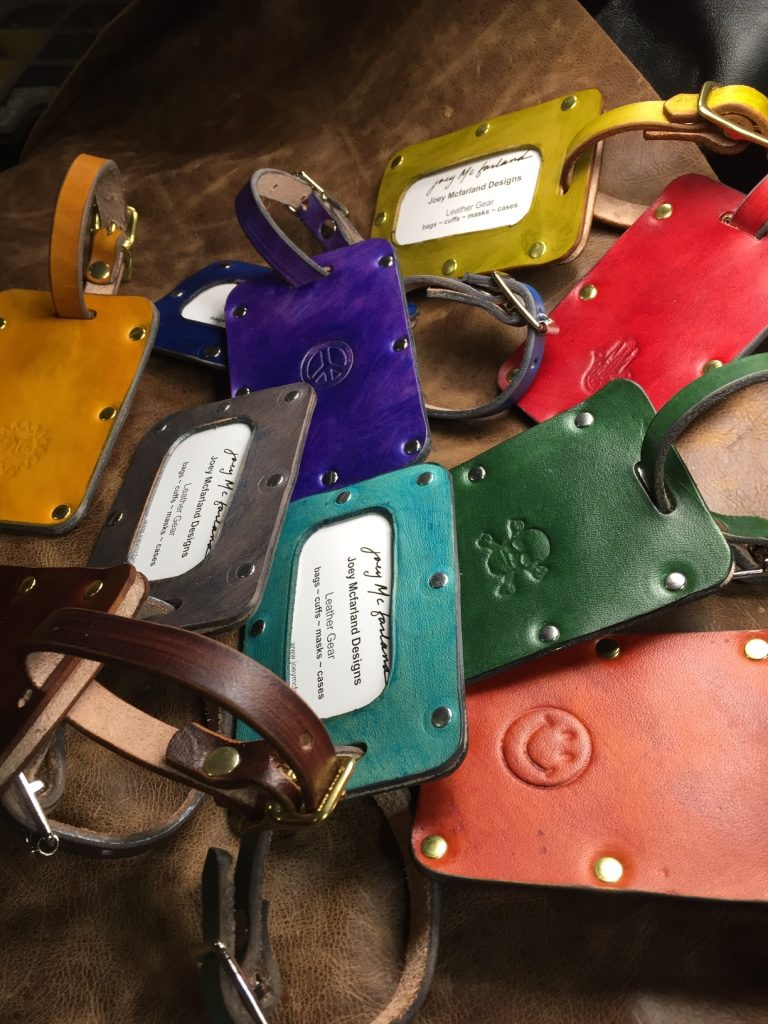 handcrafted leather luggage tag